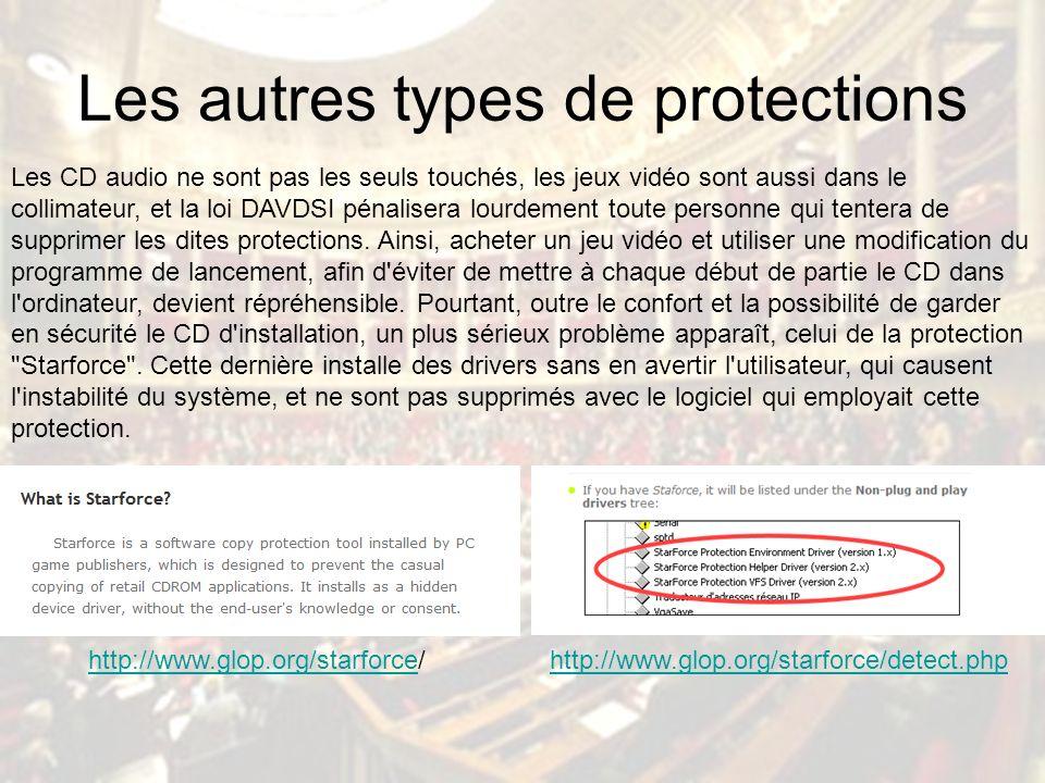 Les autres types de protections Les CD audio ne sont pas les seuls touchés, les jeux vidéo sont aussi dans le collimateur, et la loi DAVDSI pénalisera lourdement toute personne qui tentera de supprimer les dites protections.