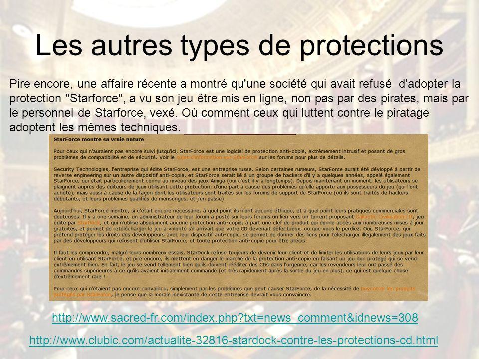 Les autres types de protections Pire encore, une affaire récente a montré qu une société qui avait refusé d adopter la protection Starforce , a vu son jeu être mis en ligne, non pas par des pirates, mais par le personnel de Starforce, vexé.