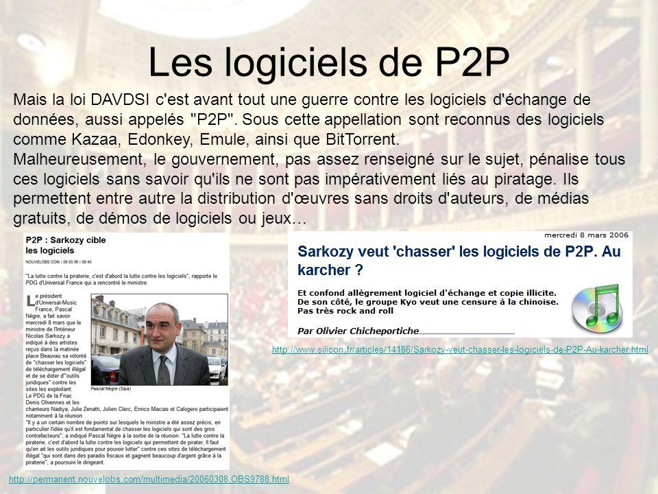Les logiciels de P2P Mais la loi DAVDSI c est avant tout une guerre contre les logiciels d échange de données, aussi appelés P2P .