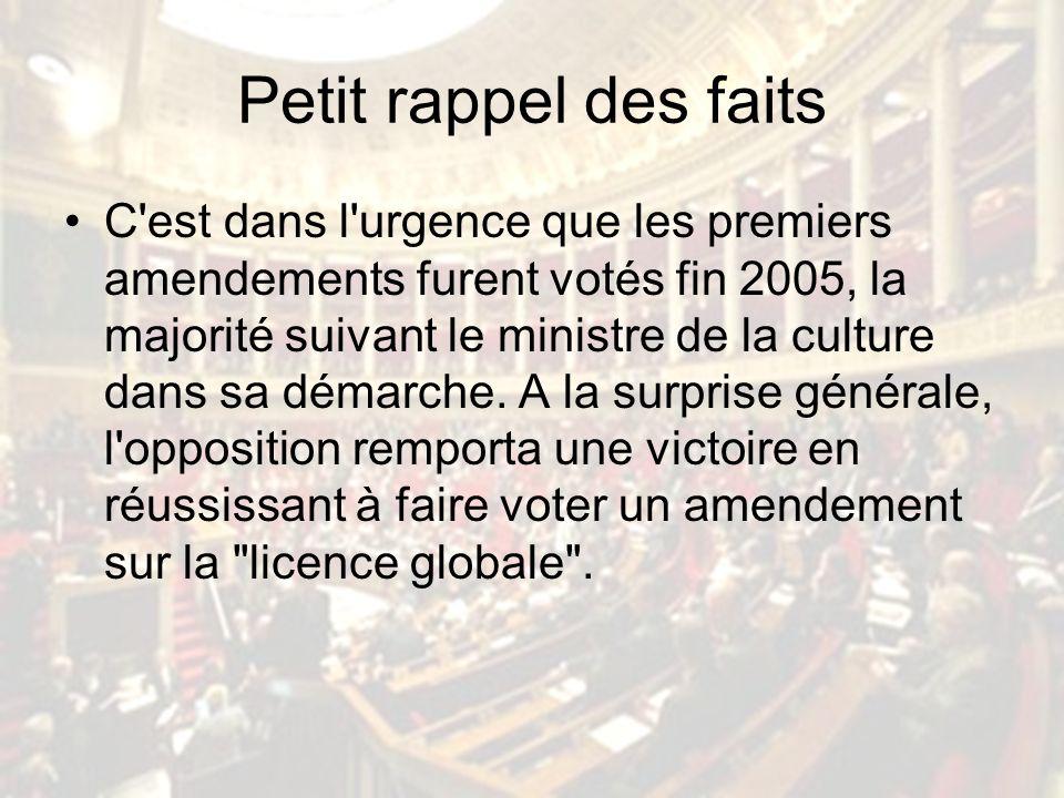 Petit rappel des faits C est dans l urgence que les premiers amendements furent votés fin 2005, la majorité suivant le ministre de la culture dans sa démarche.