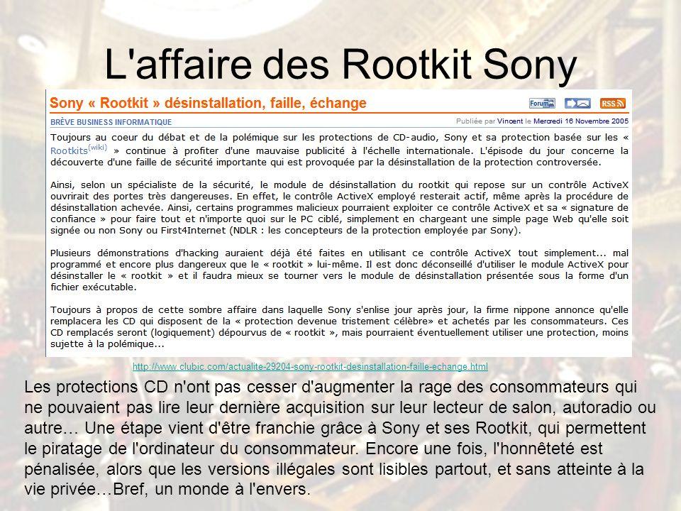 L affaire des Rootkit Sony Les protections CD n ont pas cesser d augmenter la rage des consommateurs qui ne pouvaient pas lire leur dernière acquisition sur leur lecteur de salon, autoradio ou autre… Une étape vient d être franchie grâce à Sony et ses Rootkit, qui permettent le piratage de l ordinateur du consommateur.