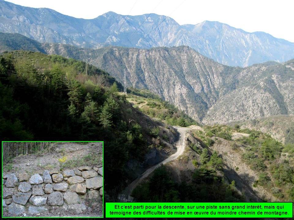 Et cest parti pour la descente, sur une piste sans grand intérêt, mais qui témoigne des difficultés de mise en œuvre du moindre chemin de montagne.