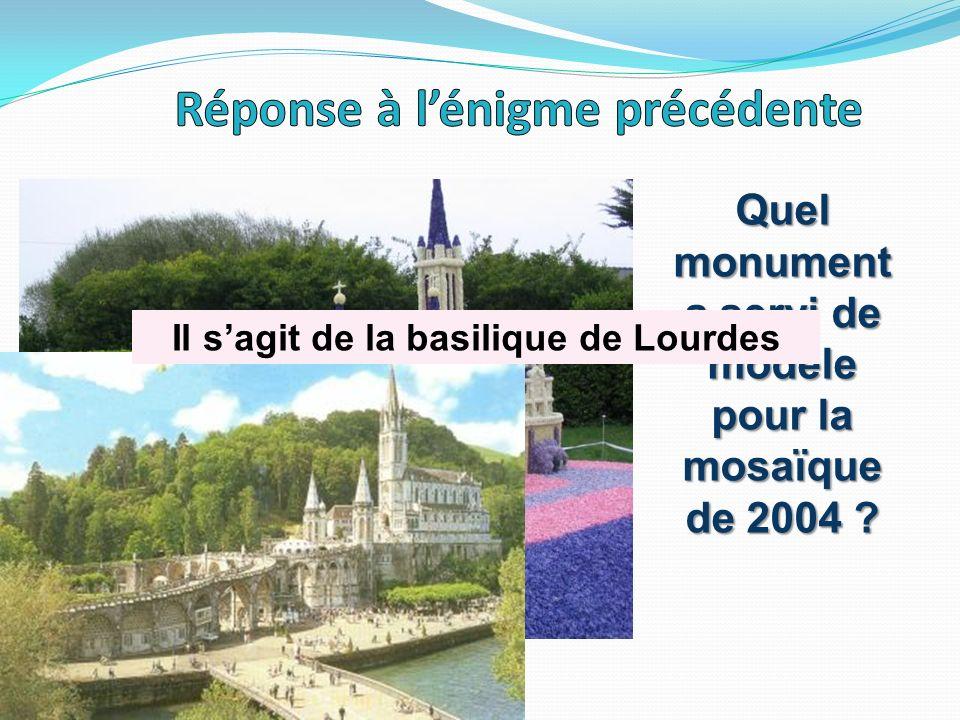 Quel monument a servi de modèle pour la mosaïque de 2004 ? Il sagit de la basilique de Lourdes