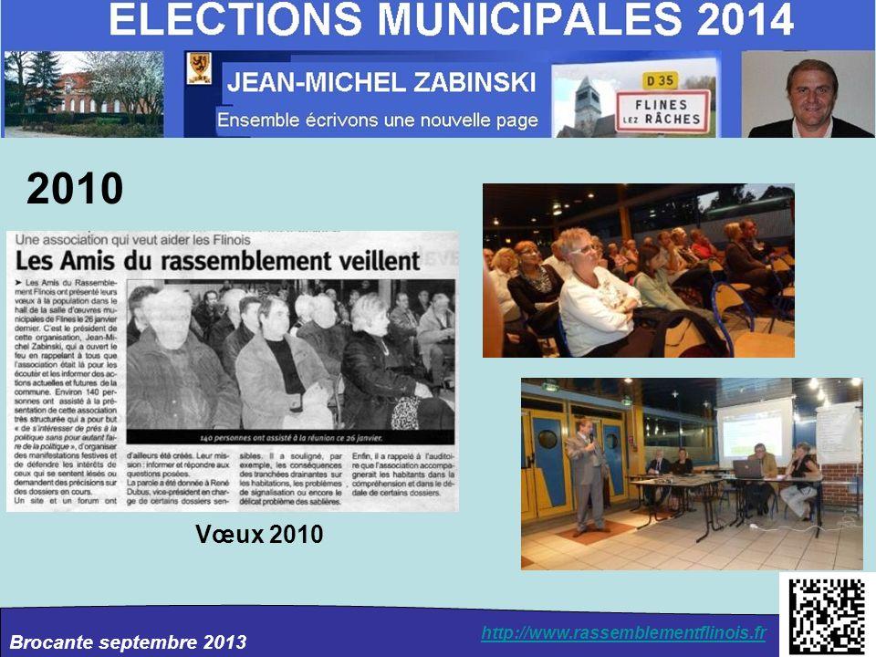 Brocante septembre 2013 http://www.rassemblementflinois.fr 2010 Vœux 2010