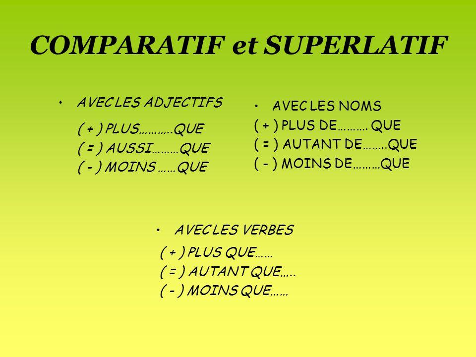 COMPARATIF et SUPERLATIF AVEC LES NOMS ( + ) PLUS DE………. QUE ( = ) AUTANT DE……..QUE ( - ) MOINS DE………QUE AVEC LES ADJECTIFS ( + ) PLUS………..QUE ( = ) A