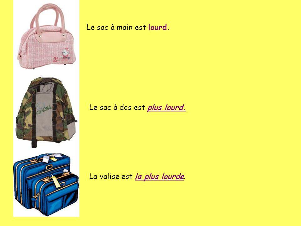 Le sac à main est lourd. Le sac à dos est plus lourd. La valise est la plus lourde.