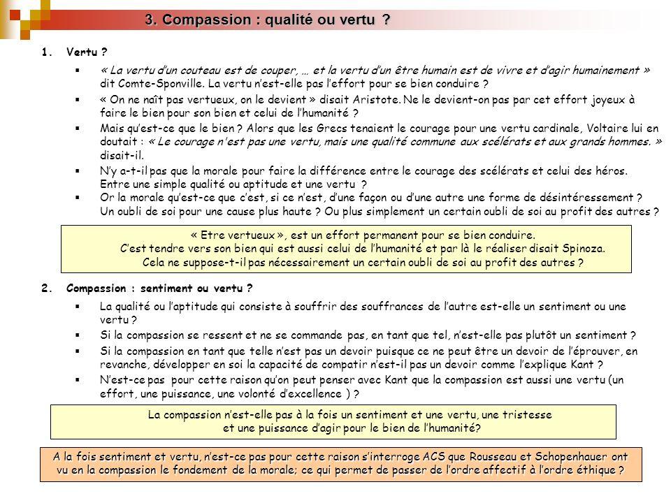 3. Compassion : qualité ou vertu ? A la fois sentiment et vertu, nest-ce pas pour cette raison sinterroge ACS que Rousseau et Schopenhauer ont vu en l