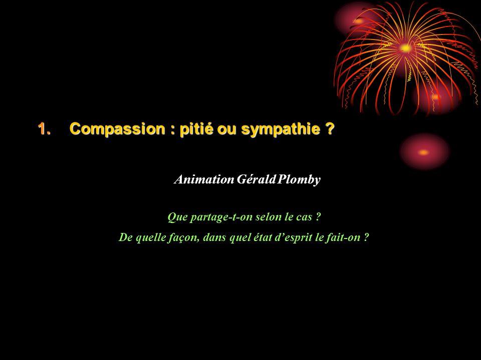 1.Compassion : pitié ou sympathie ? Animation Gérald Plomby Que partage-t-on selon le cas ? De quelle façon, dans quel état desprit le fait-on ?