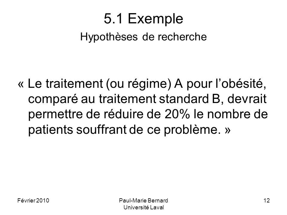 Février 2010Paul-Marie Bernard Université Laval 12 5.1 Exemple Hypothèses de recherche « Le traitement (ou régime) A pour lobésité, comparé au traitem