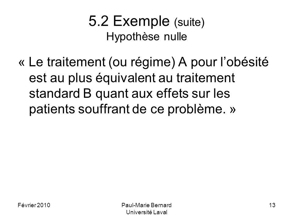 Février 2010Paul-Marie Bernard Université Laval 13 5.2 Exemple (suite) Hypothèse nulle « Le traitement (ou régime) A pour lobésité est au plus équival
