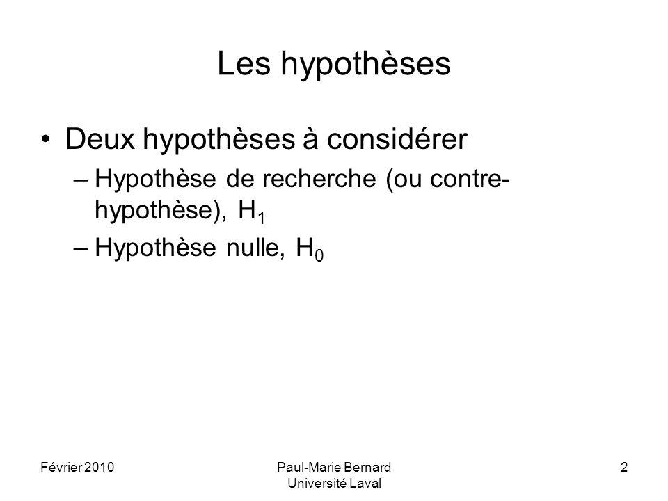 Février 2010Paul-Marie Bernard Université Laval 2 Les hypothèses Deux hypothèses à considérer –Hypothèse de recherche (ou contre- hypothèse), H 1 –Hyp