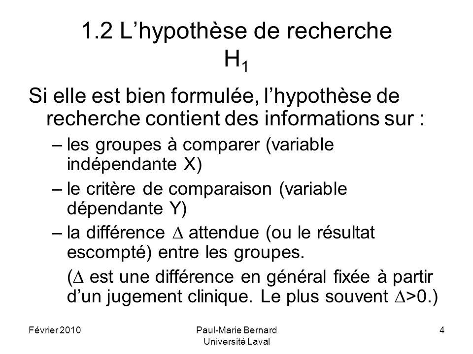 Février 2010Paul-Marie Bernard Université Laval 4 1.2 Lhypothèse de recherche H 1 Si elle est bien formulée, lhypothèse de recherche contient des info