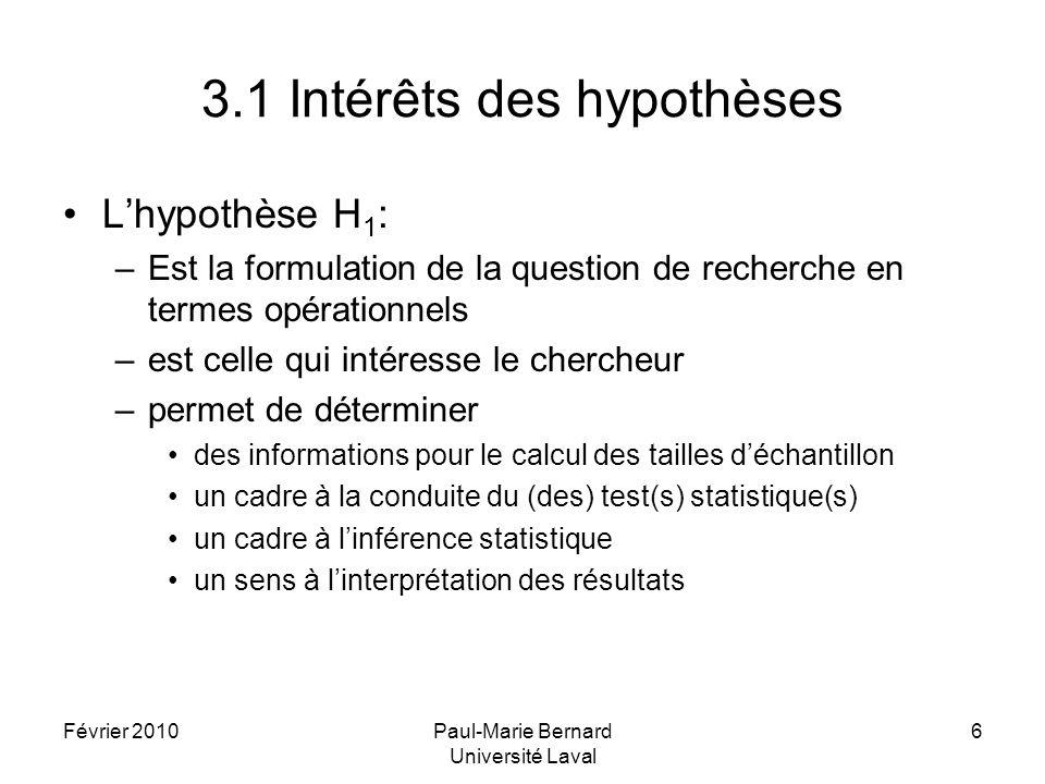 Février 2010Paul-Marie Bernard Université Laval 17 5.4 Exemple (suite) Les résultats et les hypothèses Réduction escomptée: =20% (hypothèse H 1 ) Dans loptique des hypothèses, résultats possibles sur D: R0: D 0% ou < 0% R1: D 20% ou > 20% Toute différence D = R1 (se situant dans le voisinage ou supérieure à 20%) sera déclarée compatible avec H 1 = R0 (se situant dans le voisinage ou inférieure à 0%) sera déclarée compatible avec H 0