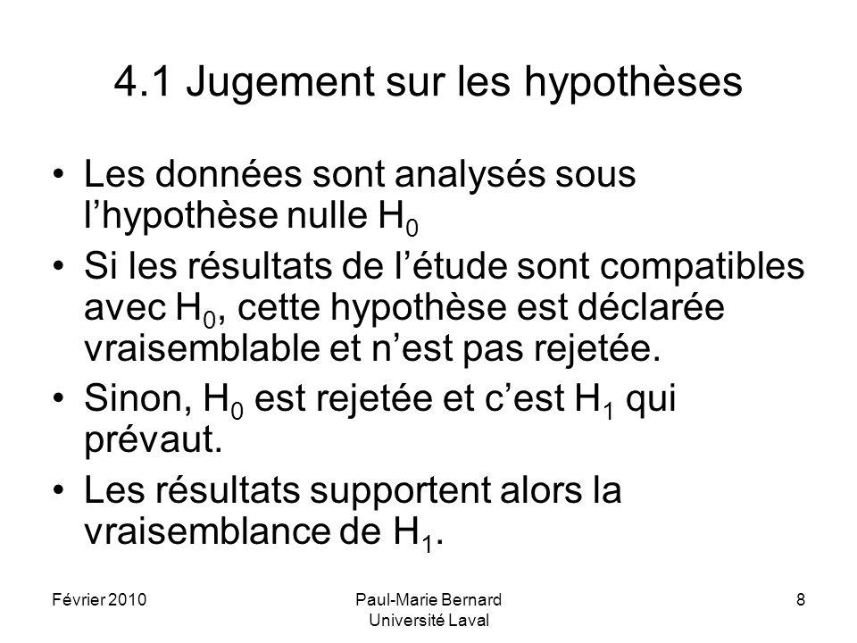 Février 2010Paul-Marie Bernard Université Laval 8 4.1 Jugement sur les hypothèses Les données sont analysés sous lhypothèse nulle H 0 Si les résultats