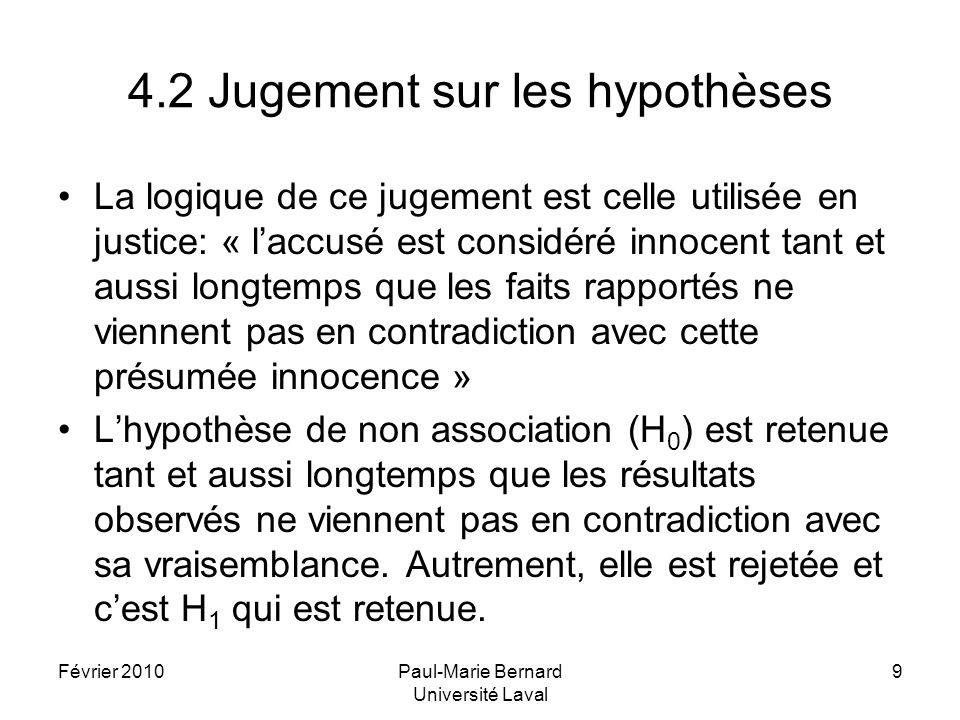 Février 2010Paul-Marie Bernard Université Laval 9 4.2 Jugement sur les hypothèses La logique de ce jugement est celle utilisée en justice: « laccusé e