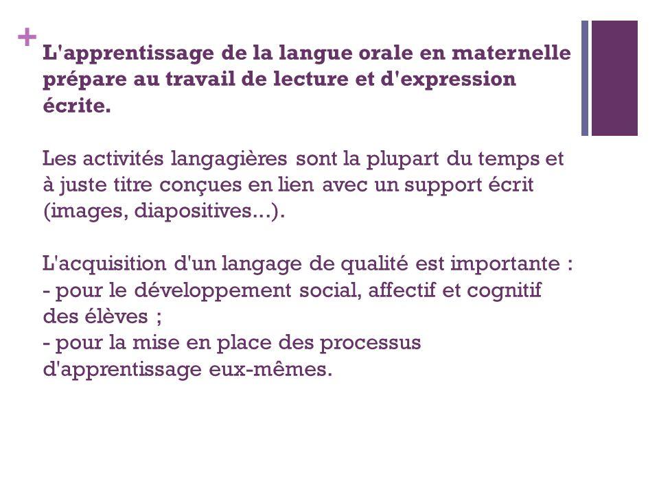 + L'apprentissage de la langue orale en maternelle prépare au travail de lecture et d'expression écrite. Les activités langagières sont la plupart du