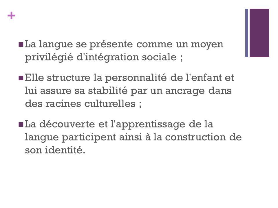 + La langue se présente comme un moyen privilégié d intégration sociale ; Elle structure la personnalité de l enfant et lui assure sa stabilité par un ancrage dans des racines culturelles ; La découverte et l apprentissage de la langue participent ainsi à la construction de son identité.