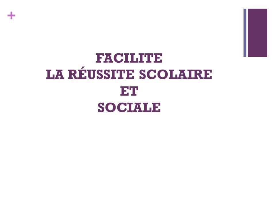 + FACILITE LA RÉUSSITE SCOLAIRE ET SOCIALE