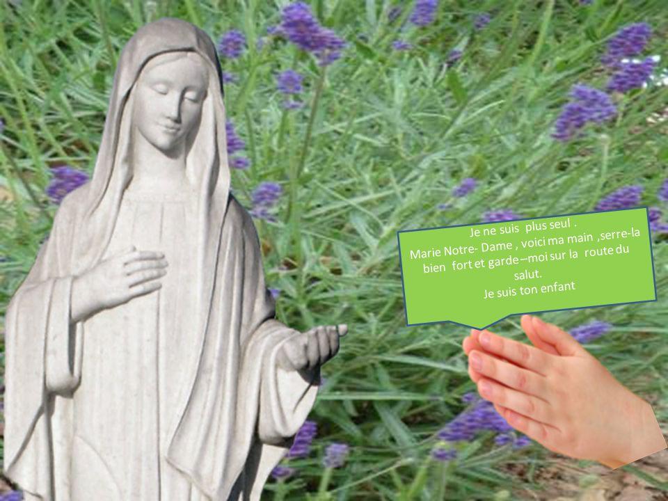 Je ne suis plus seul. Marie Notre- Dame, voici ma main,serre-la bien fort et garde –moi sur la route du salut. Je suis ton enfant