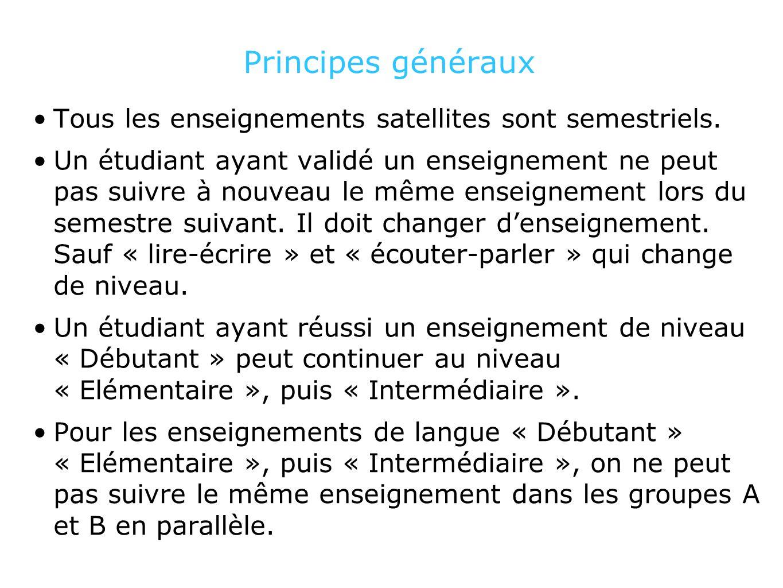 Principes généraux Tous les enseignements satellites sont semestriels.