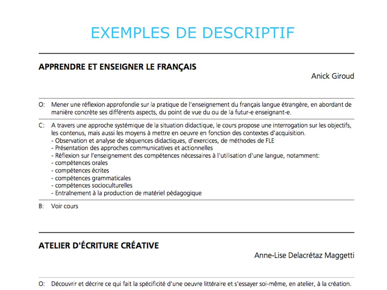 EXEMPLES DE DESCRIPTIF