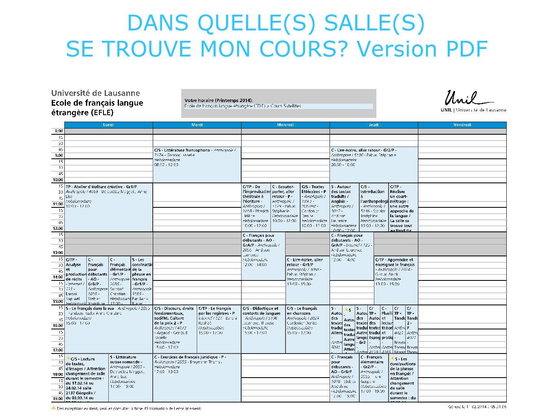 DANS QUELLE(S) SALLE(S) SE TROUVE MON COURS? Version PDF