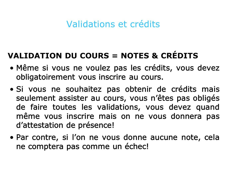 Validations et crédits