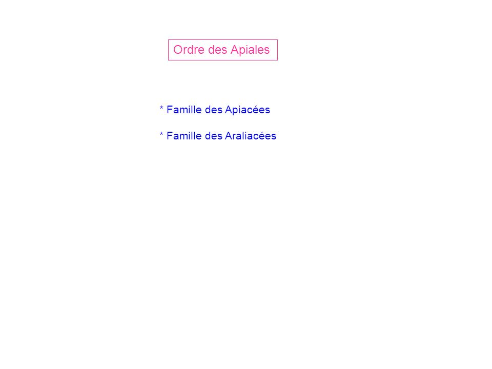 Famille des Apiacées Ordre des Apiales (anc.class.