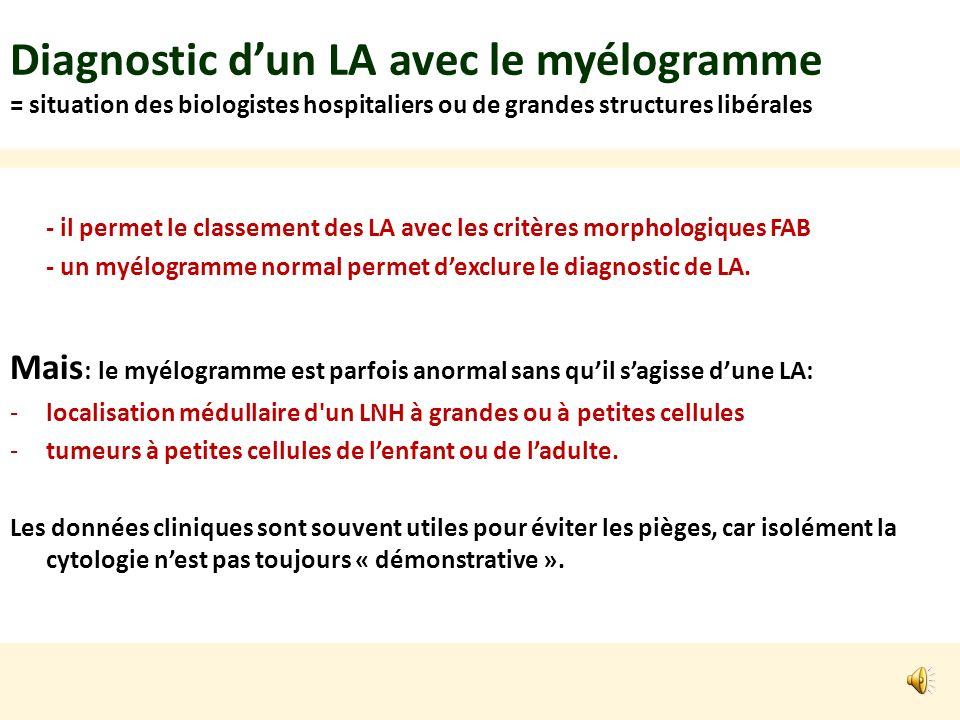 Diagnostic dun LA avec le myélogramme = situation des biologistes hospitaliers ou de grandes structures libérales - il permet le classement des LA avec les critères morphologiques FAB - un myélogramme normal permet dexclure le diagnostic de LA.