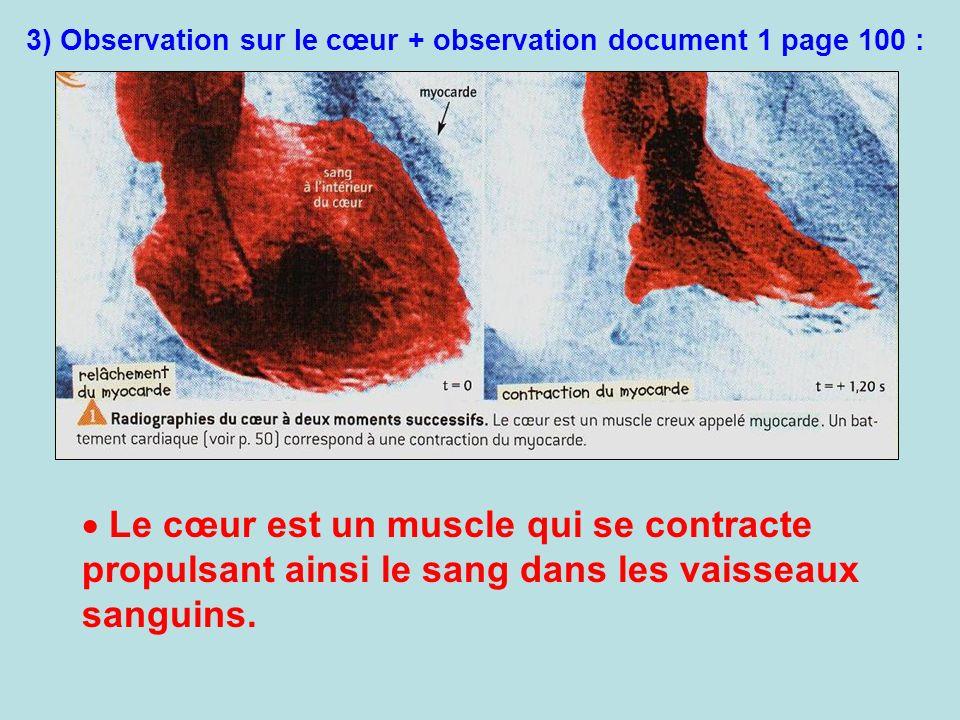 3) Observation sur le cœur + observation document 1 page 100 : Le cœur est un muscle qui se contracte propulsant ainsi le sang dans les vaisseaux sang