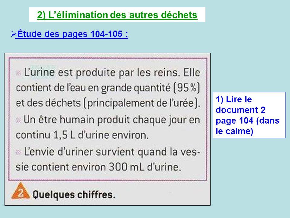 2) Lélimination des autres déchets Étude des pages 104-105 : 1) Lire le document 2 page 104 (dans le calme)