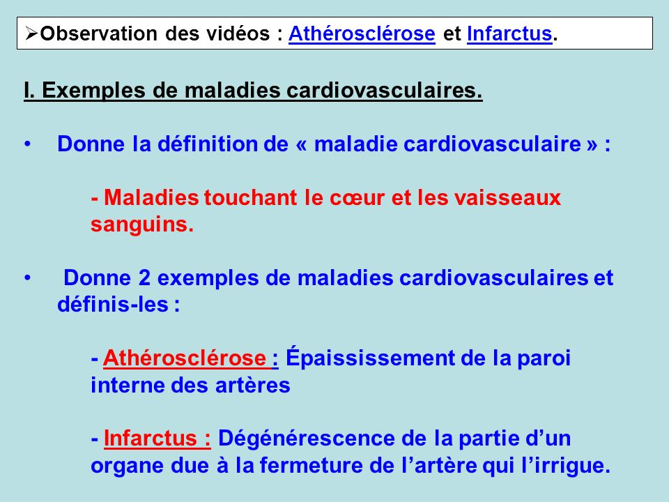 Observation des vidéos : Athérosclérose et Infarctus.AthéroscléroseInfarctus I. Exemples de maladies cardiovasculaires. Donne la définition de « malad