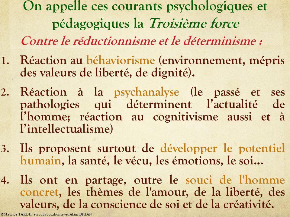 On appelle ces courants psychologiques et pédagogiques la Troisième force Contre le réductionnisme et le déterminisme : 1. Réaction au béhaviorisme (e