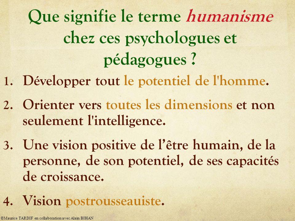 Que signifie le terme humanisme chez ces psychologues et pédagogues ? 1. Développer tout le potentiel de l'homme. 2. Orienter vers toutes les dimensio
