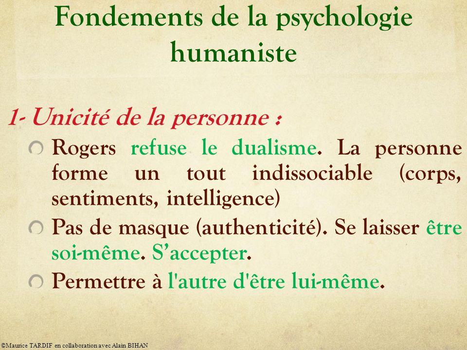 Fondements de la psychologie humaniste 1- Unicité de la personne : Rogers refuse le dualisme. La personne forme un tout indissociable (corps, sentimen