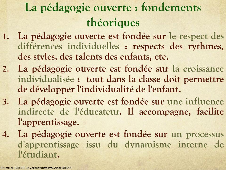 La pédagogie ouverte : fondements théoriques 1. La pédagogie ouverte est fondée sur le respect des différences individuelles : respects des rythmes, d