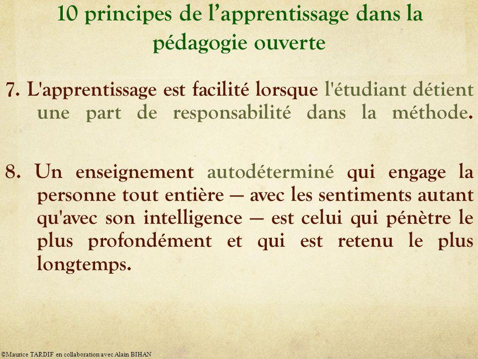 10 principes de lapprentissage dans la pédagogie ouverte 7. L'apprentissage est facilité lorsque l'étudiant détient une part de responsabilité dans la