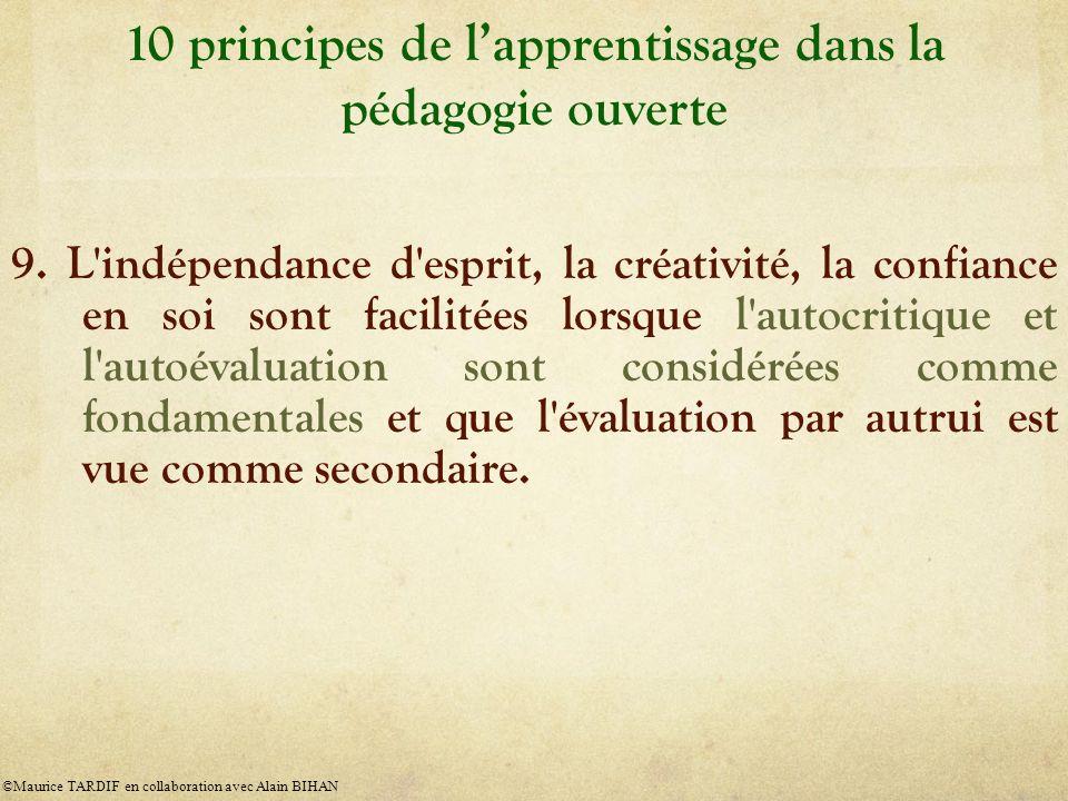 10 principes de lapprentissage dans la pédagogie ouverte 9. L'indépendance d'esprit, la créativité, la confiance en soi sont facilitées lorsque l'auto