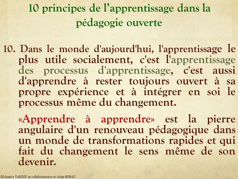 10 principes de lapprentissage dans la pédagogie ouverte 10. Dans le monde d'aujourd'hui, l'apprentiss age le plus utile socialement, c'est l'apprenti