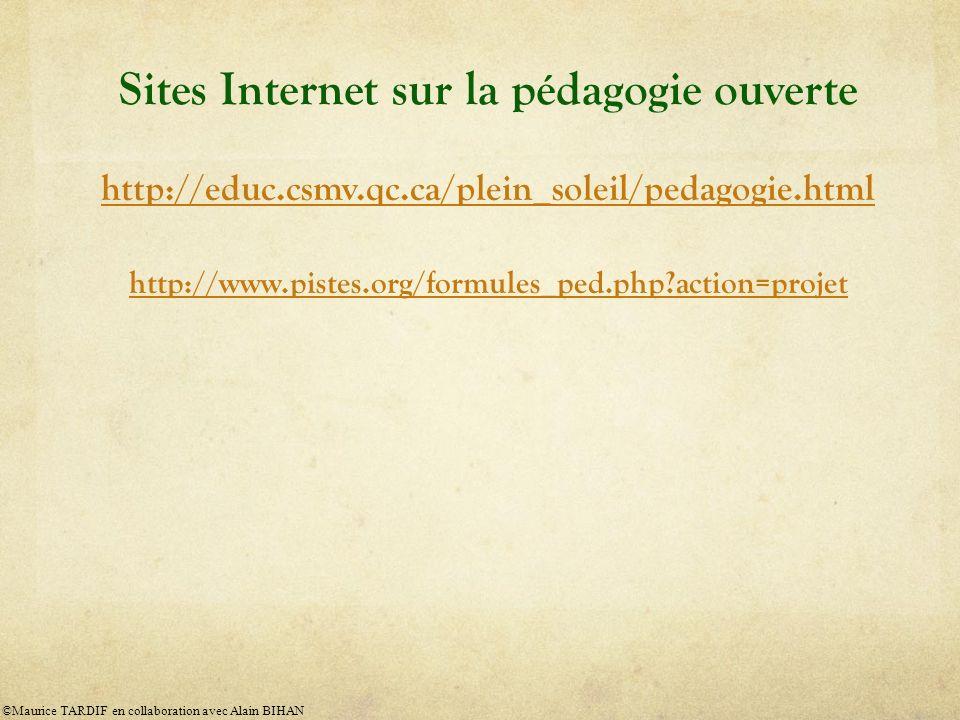 Sites Internet sur la pédagogie ouverte http://educ.csmv.qc.ca/plein_soleil/pedagogie.html http://www.pistes.org/formules_ped.php?action=projet ©Maurice TARDIF en collaboration avec Alain BIHAN
