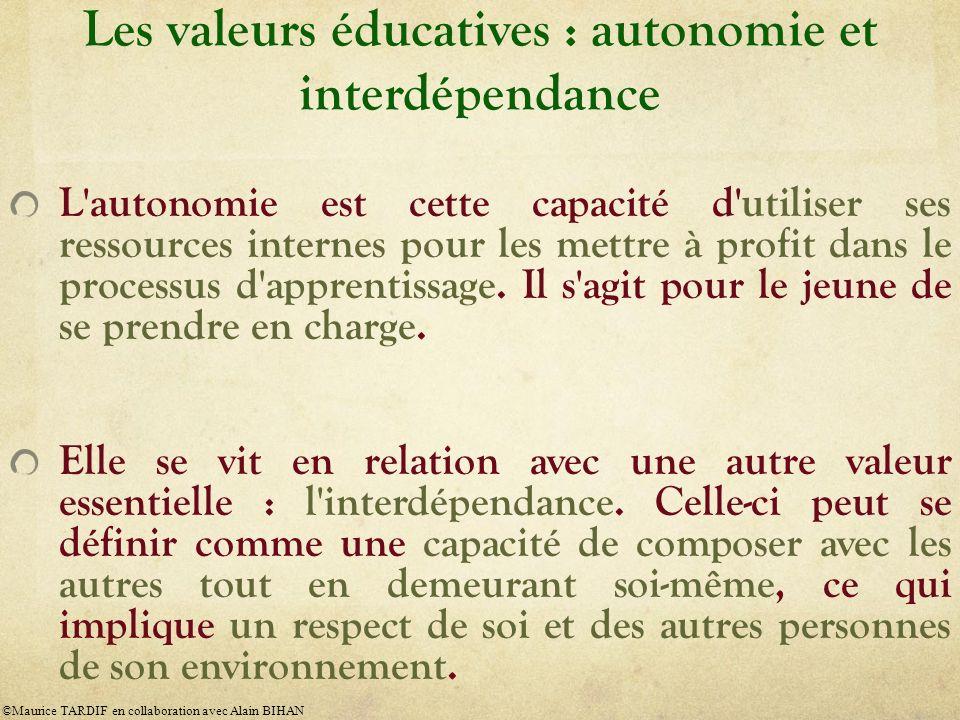 Les valeurs éducatives : autonomie et interdépendance L'autonomie est cette capacité d'utiliser ses ressources internes pour les mettre à profit dans