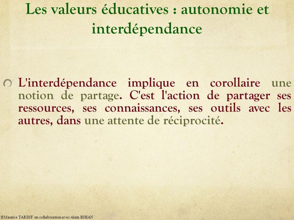 Les valeurs éducatives : autonomie et interdépendance L'interdépendance implique en corollaire une notion de partage. C'est l'action de partager ses r