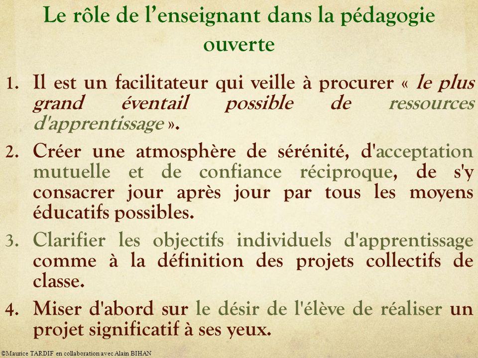 Le rôle de lenseignant dans la pédagogie ouverte 1.