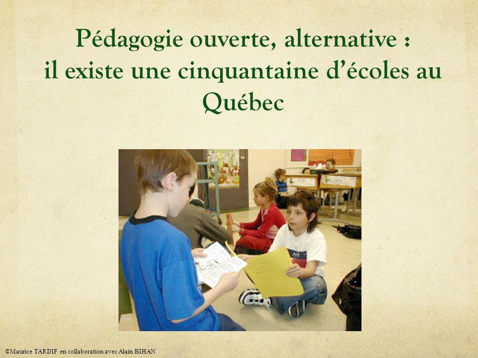 Pédagogie ouverte, alternative : il existe une cinquantaine décoles au Québec ©Maurice TARDIF en collaboration avec Alain BIHAN