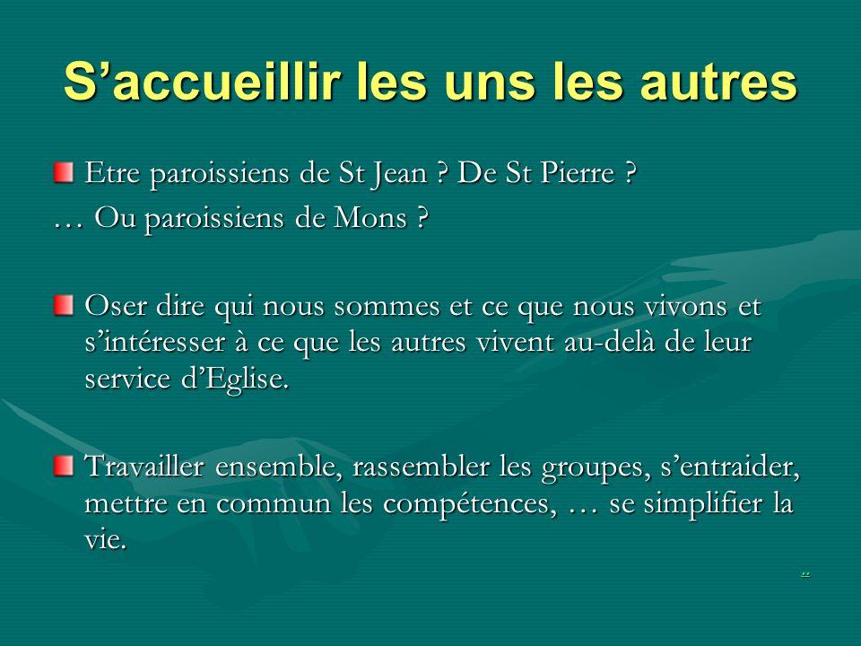 Saccueillir les uns les autres Etre paroissiens de St Jean ? De St Pierre ? … Ou paroissiens de Mons ? Oser dire qui nous sommes et ce que nous vivons