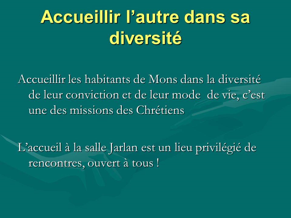 Accueillir lautre dans sa diversité Accueillir les habitants de Mons dans la diversité de leur conviction et de leur mode de vie, cest une des mission