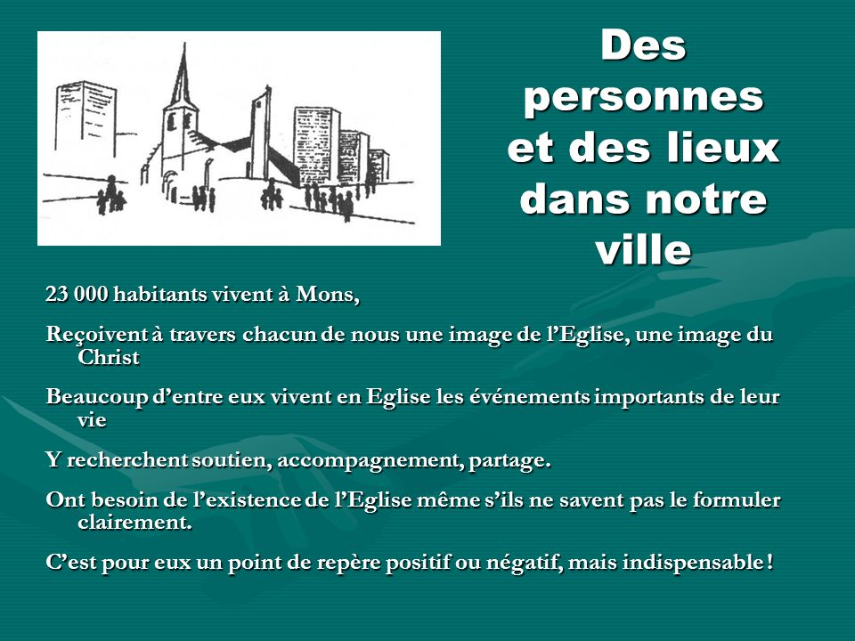 Des personnes et des lieux dans notre ville 23 000 habitants vivent à Mons, Reçoivent à travers chacun de nous une image de lEglise, une image du Chri