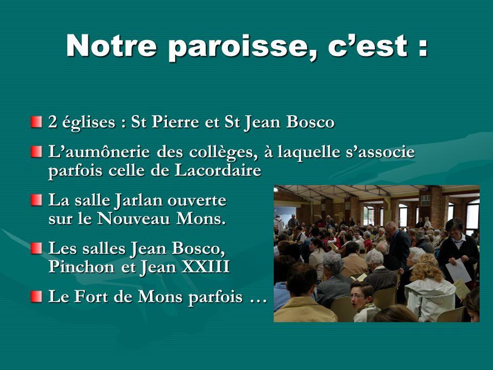 Notre paroisse, cest : 2 églises : St Pierre et St Jean Bosco Laumônerie des collèges, à laquelle sassocie parfois celle de Lacordaire La salle Jarlan ouverte sur le Nouveau Mons.