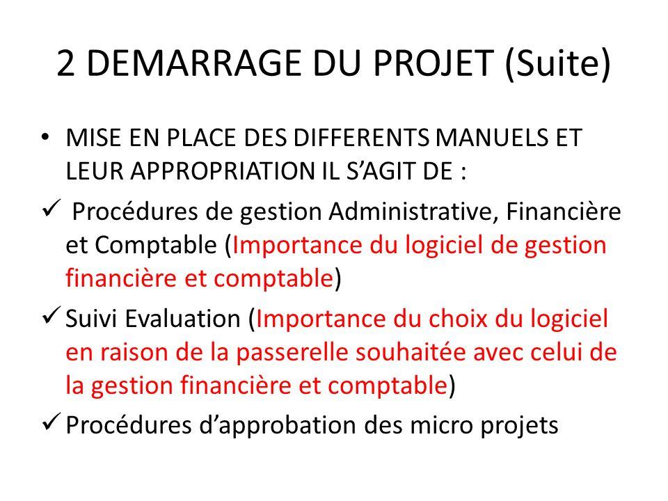 2 DEMARRAGE DU PROJET (Suite) MISE EN PLACE DES DIFFERENTS MANUELS ET LEUR APPROPRIATION IL SAGIT DE : Procédures de gestion Administrative, Financièr