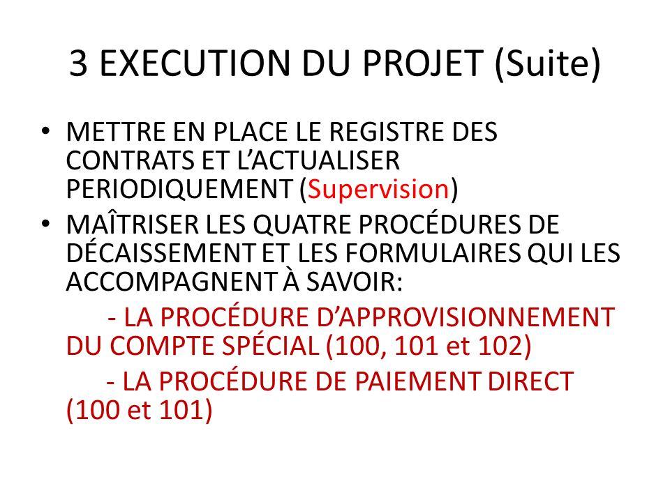 3 EXECUTION DU PROJET (Suite) METTRE EN PLACE LE REGISTRE DES CONTRATS ET LACTUALISER PERIODIQUEMENT (Supervision) MAÎTRISER LES QUATRE PROCÉDURES DE